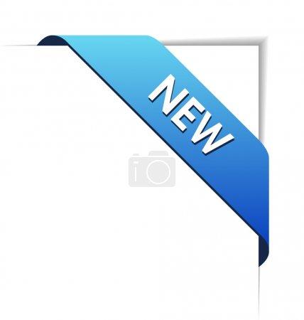 New blue corner business ribbon on white backgroun...