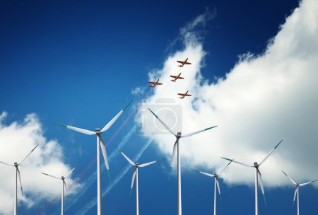 Wind turbines and air show
