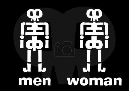 Illustration pour Halloween squelette homme, femme est le fond noir. Vecteur disponible - image libre de droit