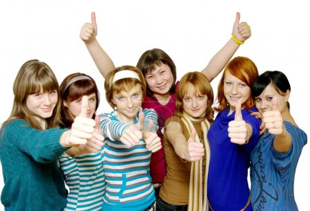 Photo for Diverse group of happy girls. Over White - Royalty Free Image
