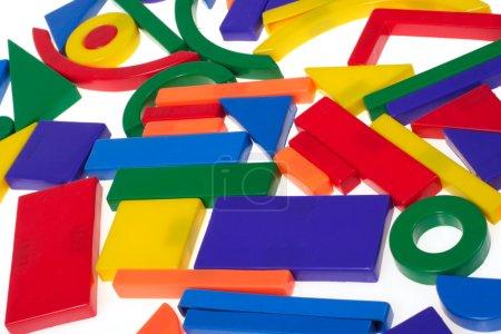Photo for Plastic blocks geometrical figures photo on white background - Royalty Free Image