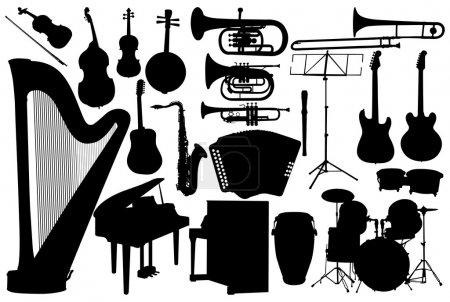 Illustration pour Set instrument de musique - vecteur sur fond blanc - image libre de droit