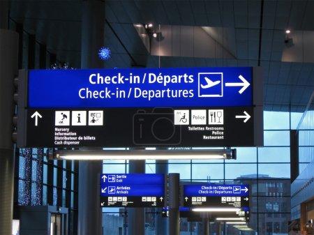 Airport gate sign, flight schedule