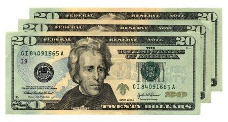 Line of twenty dollars isolated on white