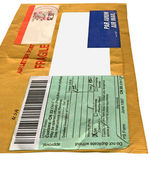 Single yellow mail package envelope