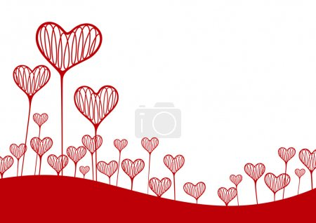 Illustration for Vector illustration. A background with hearts in the form of plants - Royalty Free Image
