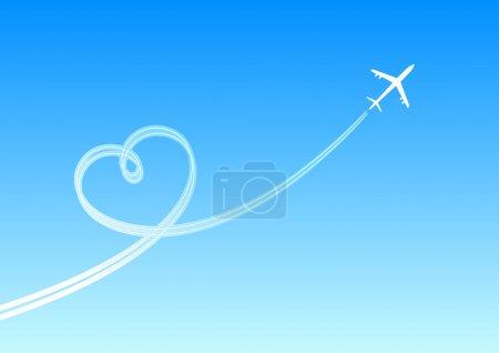 Illustration pour Coeur d'un avion fumant. Une illustration vectorielle - image libre de droit