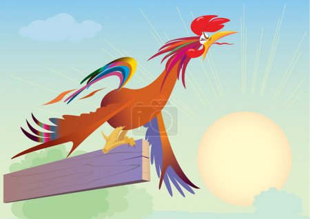 Illustration for The cock at dawn crows overstraining. vector. illustration - Royalty Free Image