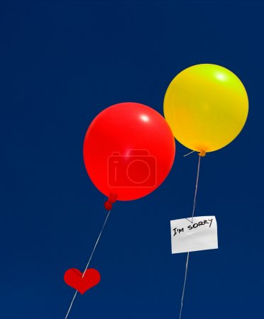 Photo for Metaphoric love-affair with two colored balloons - Royalty Free Image