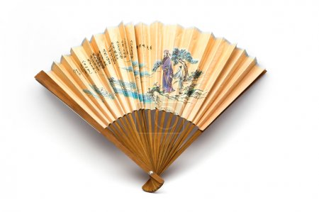 Photo for Oriental hand fan over white background - Royalty Free Image