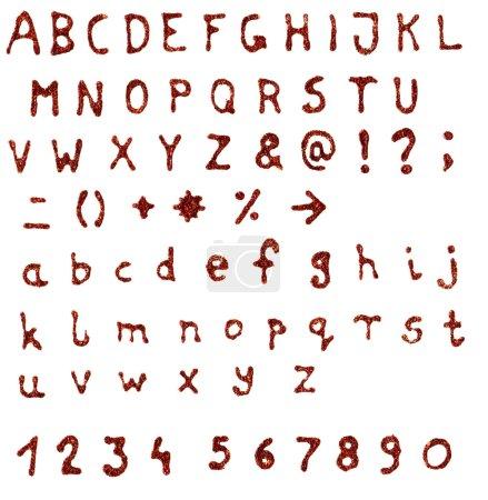Photo pour Numérisées colle paillettes doodle alphabet fait main - haute résolution avec chemins de détourage - image libre de droit