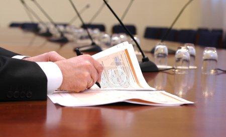 Photo pour Concept de réunion d'affaires, au début de la réunion - image libre de droit
