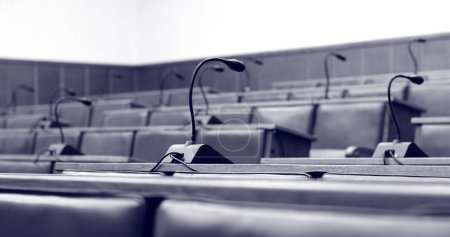 Microphones in the empty conference hall