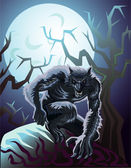 The werewolf growling and preparing a misfortune