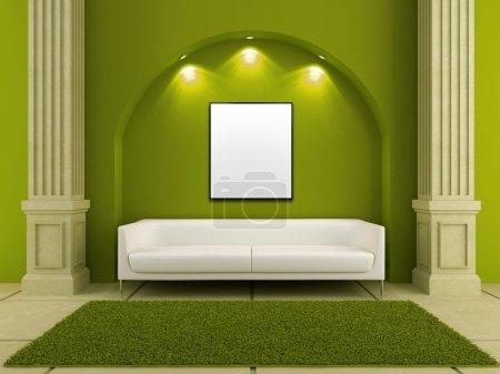 Photo pour Canapé moderne blanc dans une chambre de style classique - image libre de droit