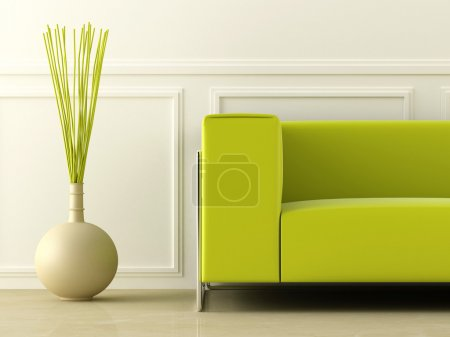 Photo for Green modern style couch in white room - Royalty Free Image