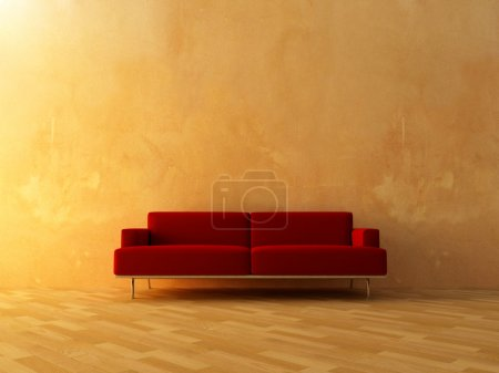 Interior - Red couch on empty wall