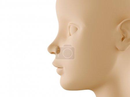 Photo pour Profil de tête d'enfant neutre graphique généré par ordinateur - image libre de droit