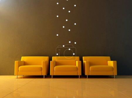 Interior - Three yellow seats in waiting