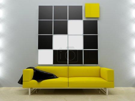 Photo pour Design d'intérieur - Canapé jaune en moder - image libre de droit