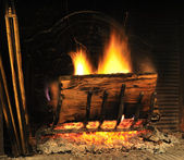 Fire wood in a chimney