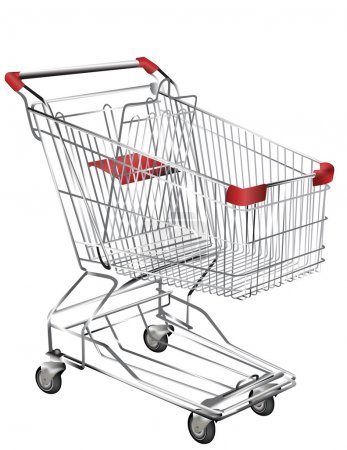 Metal shopping trolley isolated on white
