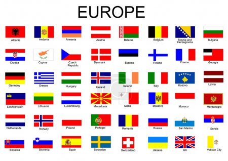 Illustration for List of all European country flags - Royalty Free Image