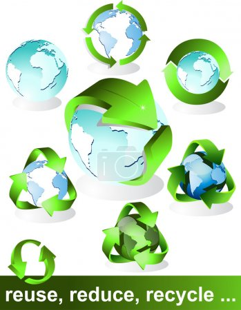 Illustration for Eco, bio, green and recycle symbols - Royalty Free Image
