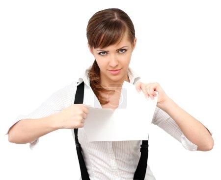 Photo pour Belle femme déchirant le papier - image libre de droit