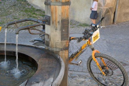 Bike and fountain