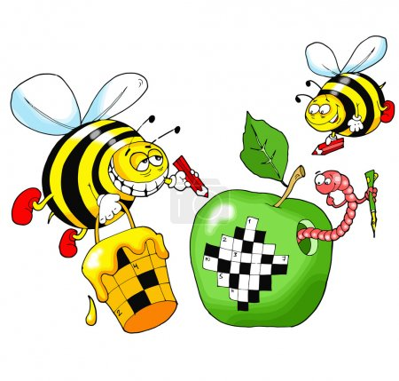 Illustration for Bees solve a crossword puzzle written on a green apple - Royalty Free Image