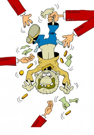Illustration for From the man beat out a monetary debt - Royalty Free Image