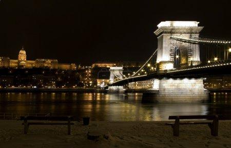Budapest bridge winter night danube