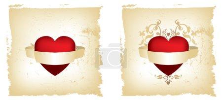 Aufwendiges Grunge-Rot und goldenes Herz