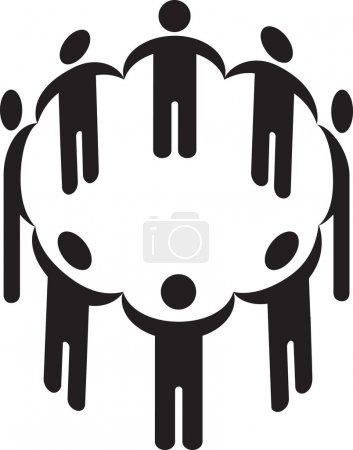 Photo pour Illustration d'un cercle de silhouette de mains tendues - image libre de droit