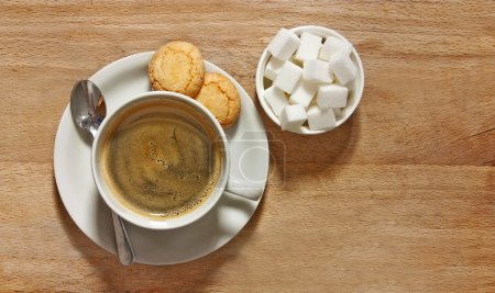 Photo for Rustic shot of filter coffee and biscuits on table - Royalty Free Image