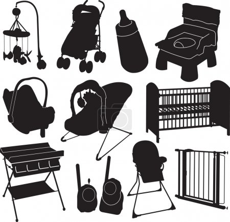 Baby silhouette objects