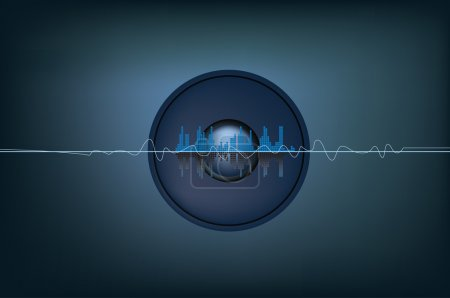 Photo for Illustration of soundwaves and a speaker system - Royalty Free Image