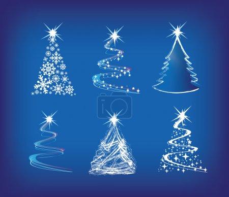 Photo pour Illustration moderne de Noël arbres dans un style abstrait lâche sur bleu - image libre de droit