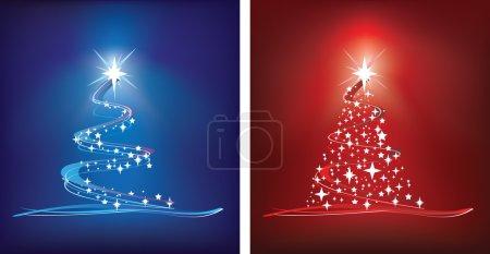 Photo pour Arbres de Noël de style abstrait rouge et bleu - image libre de droit