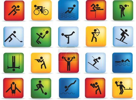 Photo for Sports figure icon character set in different positions - Royalty Free Image