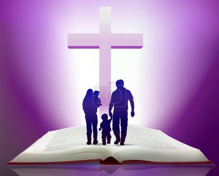 Photo pour Illustration de la bible ouverte avec famille marchant vers Croix - image libre de droit