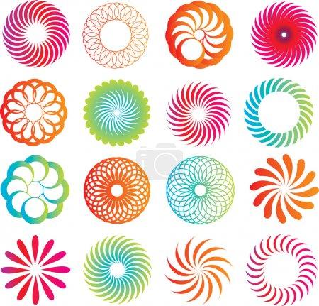 Photo pour Sélection d'icônes logo cercle dans un style de ligne moderne - image libre de droit