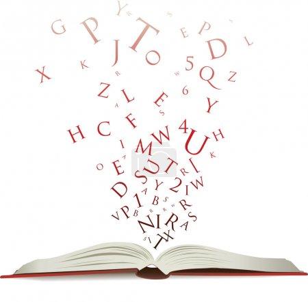 Photo pour Ouvrir le livre avec lettres tomber dans les pages - image libre de droit