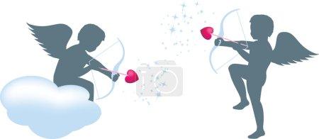 Photo pour Ensemble de 2 amours différents, décochant des flèches d'amour - image libre de droit