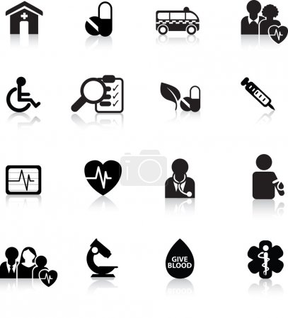 Illustration for Medical and hospital icon and web silhouette buttons - Royalty Free Image