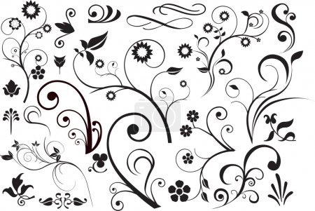 Illustration for Modern detailed intricate floral illustration with swirls - Royalty Free Image