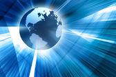 3d earth on futuristic blue background
