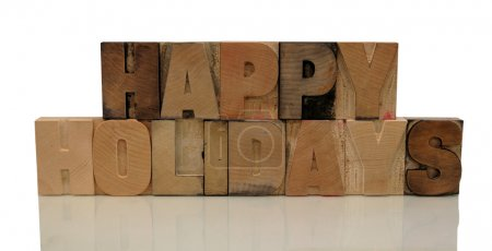 Happy holidays in letterpress wood type