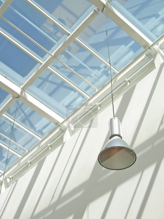 Modern interior with glass roof